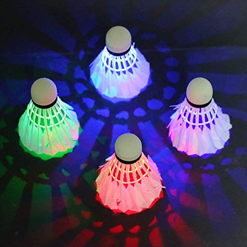 RIXOW Federbälle, LED Gänsefeder Badminton, Beleuchtung Badmintonbälle, Stabilität und Haltbarkeit Lighting Bunt Federball für Outdoor en Indoor Sportsaktivitäten