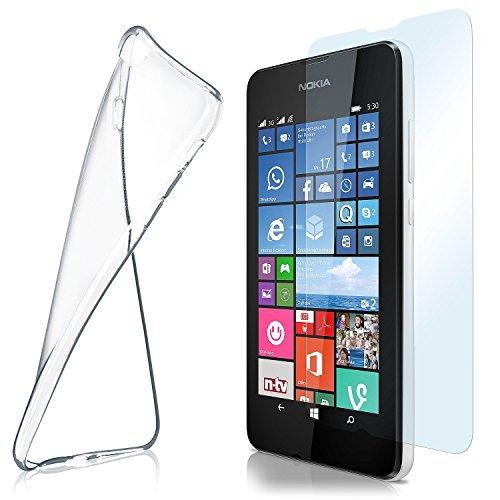 MoEx Custodia in Silicone Compatibile con Nokia Lumia 530 [360 Gradi] Pellicola Protettiva in Vetro con Cover Posteriore Trasparente per telefoni cellulari Compatibile con Nokia Lumia 530