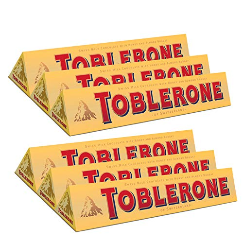 TOBLERONE SWISS MILK CHOCOLATE WITH HONEY AND ALMOND NOUGAT, 6 Count of 3.52 oz bar, 21.12 oz