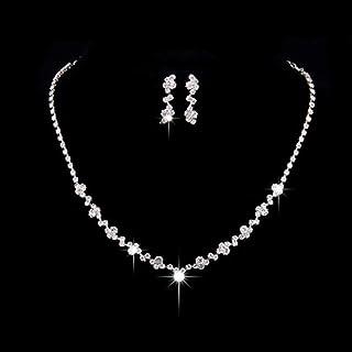 أطقم مجوهرات فضية من Unsutuo للنساء من مجموعة قلادة الزفاف ومجموعات الأقراط للعروس