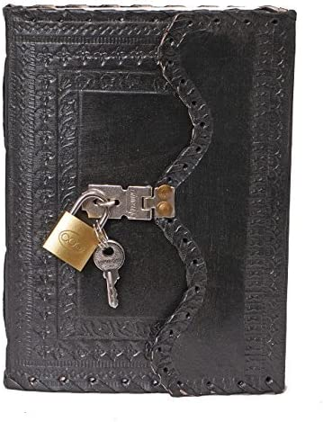 Embossed Soft Leather Travel Notebook w// Lock Key Diary Notepad Kraft  A