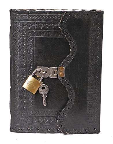 Leather Diary Journal with Lock Notepad Writing Book with Lock & Key Handmade Papers Designed for Home & Office, Vintage Antique Style Organizer Blank Notebook (Black)