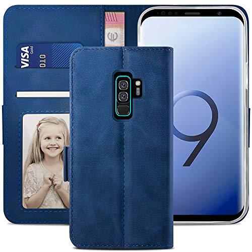 YATWIN Handyhülle Samsung Galaxy S9 Plus Hülle, Klapphülle Samsung S9 Plus Premium Leder Brieftasche Schutzhülle [Kartenfach] [Magnet] [Stand] Handytasche Case für Samsung S9 + Plus, Blau