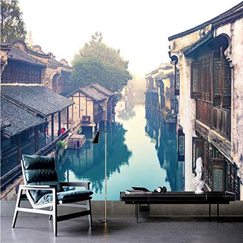 Fotobehang Chinese retro oude stad landelijke rivier muurschilderijen wandbehang (B)200*(H)140cm Pro