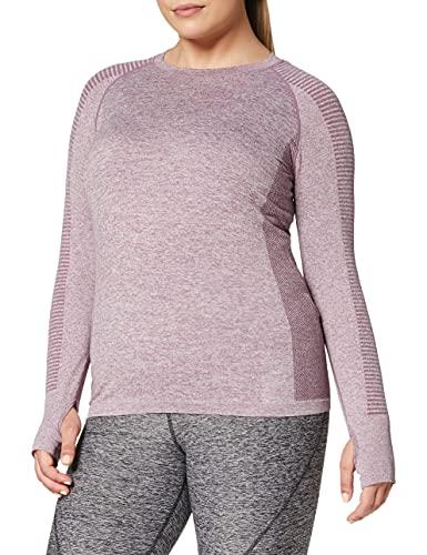 Marca Amazon - AURIQUE Mallas de Deporte sin Costuras de Tiro Alto Mujer, Rojo (Port Royale), 38, Label:S