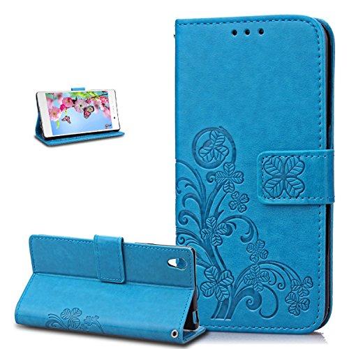 ikasus Coque Sony Xperia Z3 Etui Gaufrage Trèfle Fleur Motif Housse Cuir PU Housse Etui Coque Portefeuille Protection supporter Flip Case Etui Housse Coque pour Sony Xperia Z3,Bleu