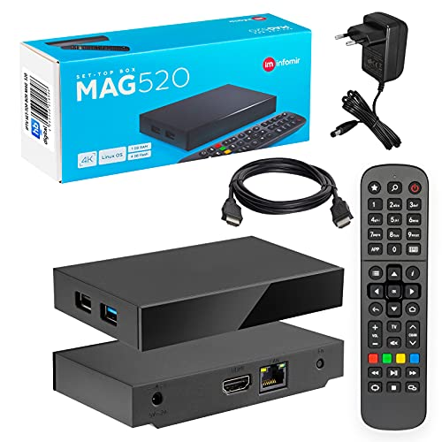 MAG 520 Original Infomir & HB-DIGITAL 4K IPTV Set TOP Box Multimedia Player Internet TV IP Receiver # 4K UHD 60FPS 2160p@60 FPS HDMI 2.0# HEVC H.256 Unterstützung # ARM Cortex-A53 + HDMI Kabel.