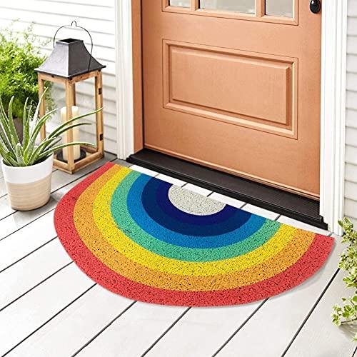 FUFRE Alfombra Arcoiris Lavable Felpudo de Entrada, Tapete para Puerta de Casa 40 x 80 cm Alfombra Antideslizante para Interiores y Exteriores