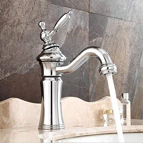 Vintage Waschtischarmatur Bad Wasserhahn 360°Drehbar Einhebelmischer Waschbecken Armatur Badarmatur Mischbatterie Waschtischbatterie Messing -(Chrom)