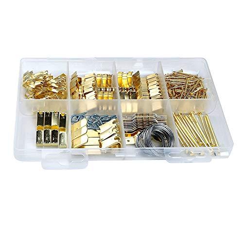 Sonline El Kit para Colgar Cuadros de 200 Piezas Incluye Ganchos, Clavos, Colgadores de Dientes de Sierra, Marcos y Alambre para Colgar Cuadros