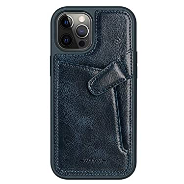 """Nillkin Case for Apple iPhone 12 / Apple iPhone 12 Pro (6.1"""" Inch) Aoge Leather 360 Protection Elite Business Case with Soft Microfiber Lining & Internal Card Slot Blue"""
