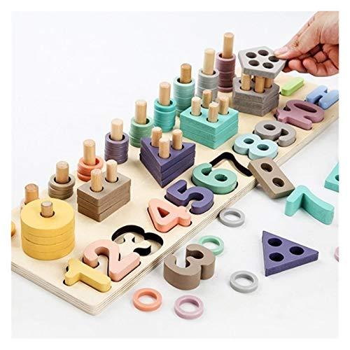 ZSYLOVE ZHANGSUYUAN Niños Juguetes de Madera Montessori Materiales Enseñanza Cuentos Números a Juego Forma Digital Match Educación temprana Niños Juguetes Matemáticas