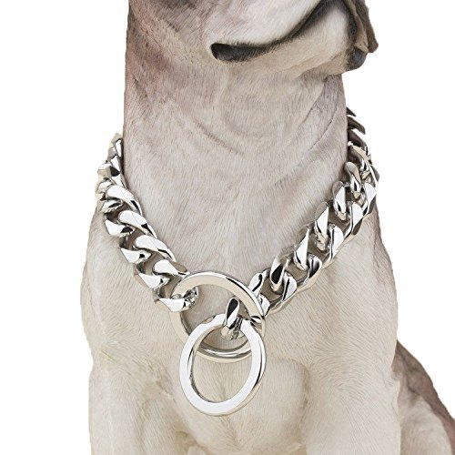 Heavy Duty Choke Cuban Chain Dog Collar for Large Dogs - 20mm XL Extra Wide, Strong Steel Metal Links for Big Breeds - Rottweiler, Pitbull, Mastiff, Cane Corso, Doberman, Great Dane - Silver, 34 Inch