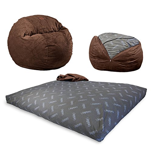 CordaRoy's Chenille, Convertible Chair Folds Bed, As Seen on Shark Tank-Espresso, King Size Bean Bag,