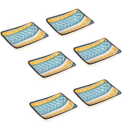 Hemoton 6 Pezzi Ciotola di Salsa di Immersione in Ceramica Mini Ciotole Set Piatto di Salsa Ciotole Condimenti Piatti per Server per Ketchup Salsa di Soia BBQ Pizzico Ciotola Stile 1