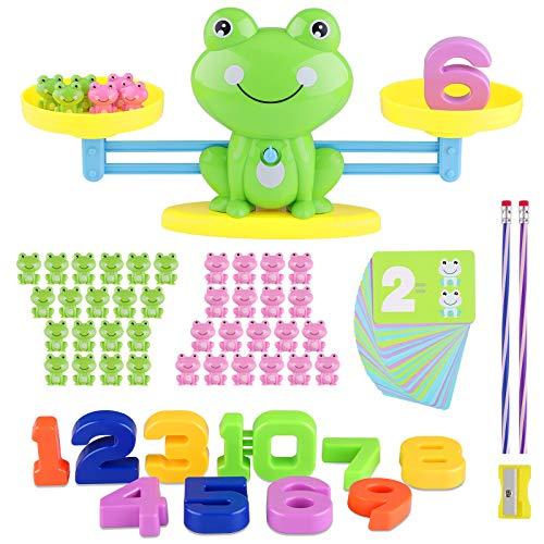 Sirecal Balance Mathe Spielzeug, Mathe Waage Spielzeug Frosch, Lernen Montessori Lernspielzeug Balance Zählen und Rechnen Cartoon Zählkarte für Kinder Jungs Mädchen ab 3 4 5 6 (Grün)