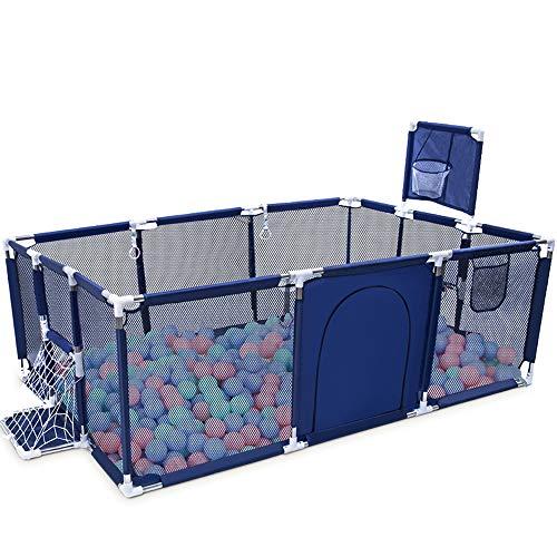 Orzbow Parque Infantil Bebés, Plegable Valla de Juegos para Niños,Corralito para bebés - Valla de Seguridad para Bebés con Marco de la Bola (Azul-Rectángulo)