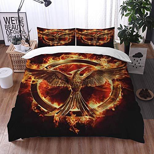 Qinniii Duvet Cover Bedding Sets,Phoenix fire Flame Firebird,3-Piece Comforter Cover Set 200 x 200 cm +2 Pillowcases 50 * 80cm