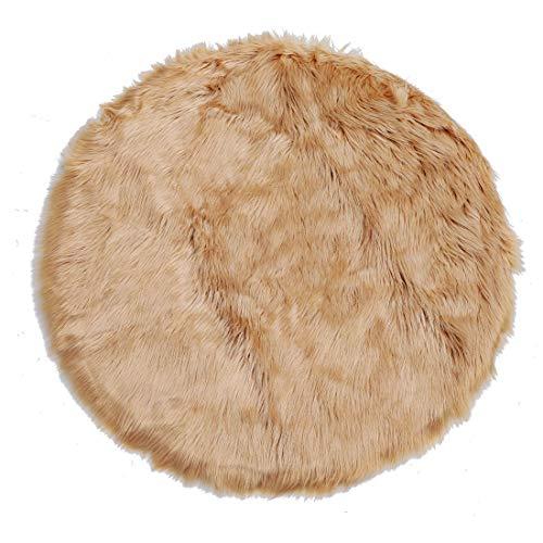 Sourcingmap - Alfombra de piel de oveja sintética para interior, suave y esponjosa para dormitorio, sofá, gabinete de salón 90 x 90cm Round caqui