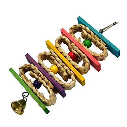 ZHER-LU インコ オウム 鳥 おもちゃ 鳥用 天然のコーンの葉 オウム噛む玩具 鳥のおもちゃ ペット用品 天然素材 ストレス解消 遊び 知育訓練 吊り下げ かご装飾 マルチカラー (A)