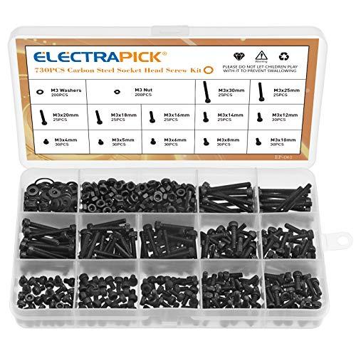 electrapick Schraube 730stk M3 Schrauben mit Innensechskant, Unterlegescheiben Mutter Sechskantschlüssel, 4-30mm, Kohlenstoffstahl