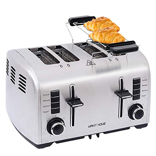 4 Slice Toasters,Toasters 4 Slice Best Rated Prime Toaster,Stainless Steel Retro Extra Wide Kitchen Toaster, Best Prime Mini Bread Toasters Oven with 7 Shade Settings,Removable Crumb Tray (Renewed)
