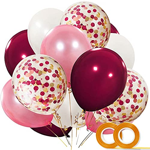 SunAurora 55 PCS Globos de Latex,12 Pulgadas,Blanco,Rosa,Vino Tinto con los Globos de látex de Confeti para Cumpleaños,Fiesta de Cumpleaños,Decoraciones, Artículos de Fiesta (Rojo)