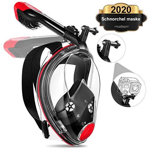 MOVTOTOP Vollmaske Schnorchelmaske,Faltbare Schnorchelmaske mit 180° Sichtfeld und Kamerahaltung,Tauchmaske Dichtung aus Silikon Anti-Fog und Anti-Leck Technologie für Erwachsene und Kinder (S/M)