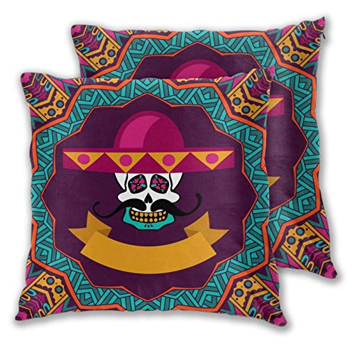 3D Print Throw Pillow Cover Case,Day Of The Dead Doodle Sugar Skull With Mustache And Sombrero,Modern Pillowcase for Sofa Couch Bed Car Set Home Decor 20'x 20' Pillowcase Cushion Covers Zipper 2pcs
