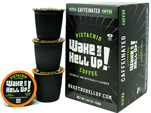 Wake The Hell Up!®️ Pistachio Flavored Single Serve Capsules Ultra-Caffeinated Coffee For K-Cup Compatible Brewers | 12 Count, 2.0 Compatible Pods | Perfect Balance of High Caffeine & Great Flavor.