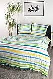 jilda-tex Seersucker Bettwäsche 155x220 cm + 80x80 cm 100% Baumwolle Sommerbettwäsche Größen (155 x 220 cm, Spring Stripes)
