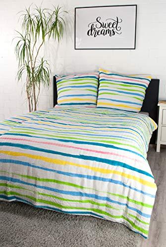 jilda-tex Seersucker Bettwäsche 135x200 cm + 80x80 cm 100% Baumwolle Sommerbettwäsche Größen (135 x 200 cm, Spring Stripes)