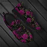 Hinewsa Moda Rosa Diseño De Flores De Las Mujeres Con Cordones De Zapatilla De Deporte Pisos Transpirable Adulto Zapatos Para Mujer HTC812BAQ 44