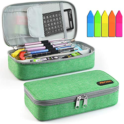 Pencil Case, Abrzon Big Capacity Pen Case Desk Organizer with Zipper for School & Office Supplies - 8.74x4.3x2.17 inches, Green