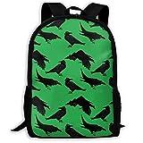 XCNGG Mochila de impresión de fotograma Completo para Adultos Mochila Informal Mochila Mochila Escolar Lightweight Durable Backpack Daypack for School Travel Hiking, Crows Ravens Green