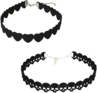 Aysekone 2 Pcs/Pack Trendy Black Velour Leather Choker Necklaces Gothic Love Heart and Skull Shape Choker Necklaces Tattoo Collares for Women Girls