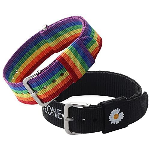 2 pulseras ajustables para niñas y niños, para parejas, pulseras de margarita, pulseras de arco iris, pulseras de abalorios de algodón y lino
