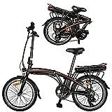 Bici Electricas Adulto con Ruedas de 20',Negro 250W Motor Bicicleta Plegable 25 km/h hasta 45-55 km Bicicletas De Carretera para Mujeres/Hombres