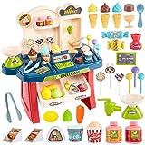 HERSITY Heladeria de Juguetes Pequeño Tienda de Helados Supermercado Comida Alimentos de Juguetes con Sonido y Luz Regalos para Niñas Niños 3 4 5 6 Años