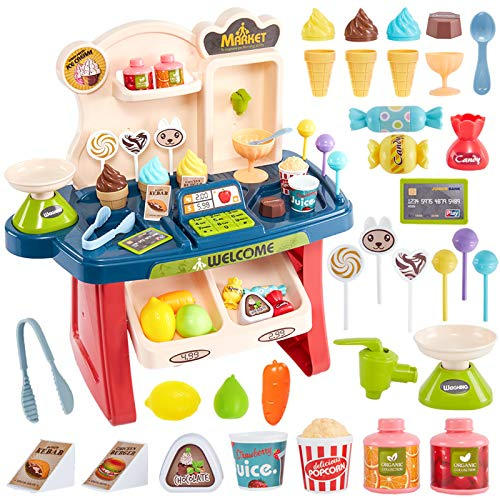 HERSITY Mini Ice Cream Shop Toy for Kids 34Pcs Role Play Supermarket Till...