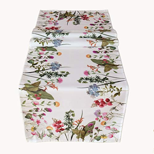 Raebel Chemin de table blanc avec motif imprimé fleurs d'été, Pâques, printemps (40 x 140 cm)