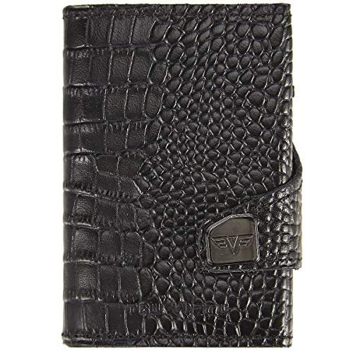 Tru Virtu® Geldbörse RFID/NFC Schutz - Portemonnaie Click & Slide Croco Black/Black - Kartenetui mit Scheinfach aus Aluminium & Leder für Herren und Damen - 9,9 x 6,7 x 2,1 cm
