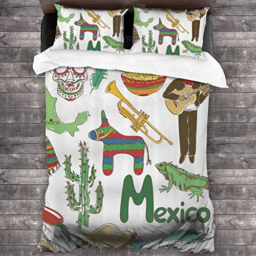 3 Piezas Juego Funda De Diseño Personalizado,Divertido Dibujo Colorido México Pirámide De Chile Nachos Cactus Música Poncho,Ropa de Cama Set 1 Edredón 2 Fundas de Almohada Microfibra jueg(220*230cm)