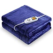"""Heated Blanket, iTeknic Electric Blanket Throw 60""""x 50"""", 10 Fast Heating Levels, 1/2/3 Hours Auto Off, ETL Certification, Machine Washable, Overheating Protection, Flannel Heating Blanket Home Office"""