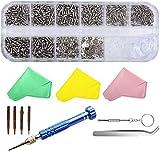 SUKUDON Kit de réparation de lunettes en acier tournevis et plaquettes de nez 1100 vis pour iPhone,...