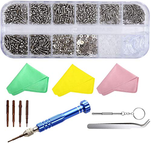 SUKUDON Kit de reparación de gafas, destornillador de acero y almohadillas para la nariz, 1100 tornillos para reloj iPhone, joyas, gafas de sol, PC, proyectos de reparación