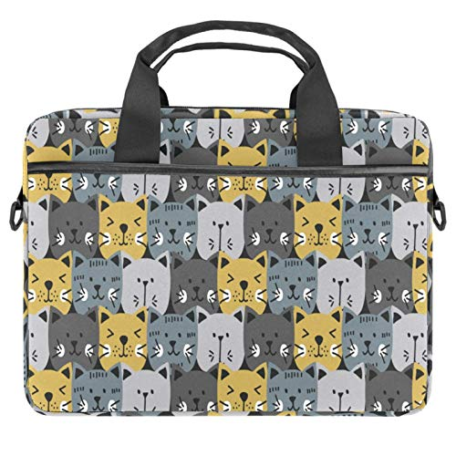 13-14.5 Inch Laptop Sleeve Case Cats Head Pattern Grey Yellow Protective Cover Bag Portable Computer Notebook Carrying Case Briefcase Message Bag