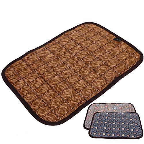 Jacksing Perro Cama para Dormir Cojín de enfriamiento para(Coffee Footprints, S)