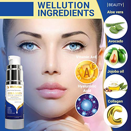 51RqrMyr6VL - Wellution Anti Aging Face Moisturizer - Collagen Cream Organic Complex – With Jojoba, Green Tea, Vitamin E, Aloe Vera & Hyaluronic Acid – Improves Fine Lines & Wrinkles – For Day & Night Usage - Made in USA