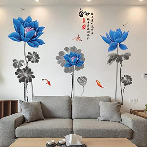 Large Size Blue Lotus Fish Wall Stickers Self-Adhesive Wall Decals Bedroom Sofa Living Room Tv Background Wall Sticker